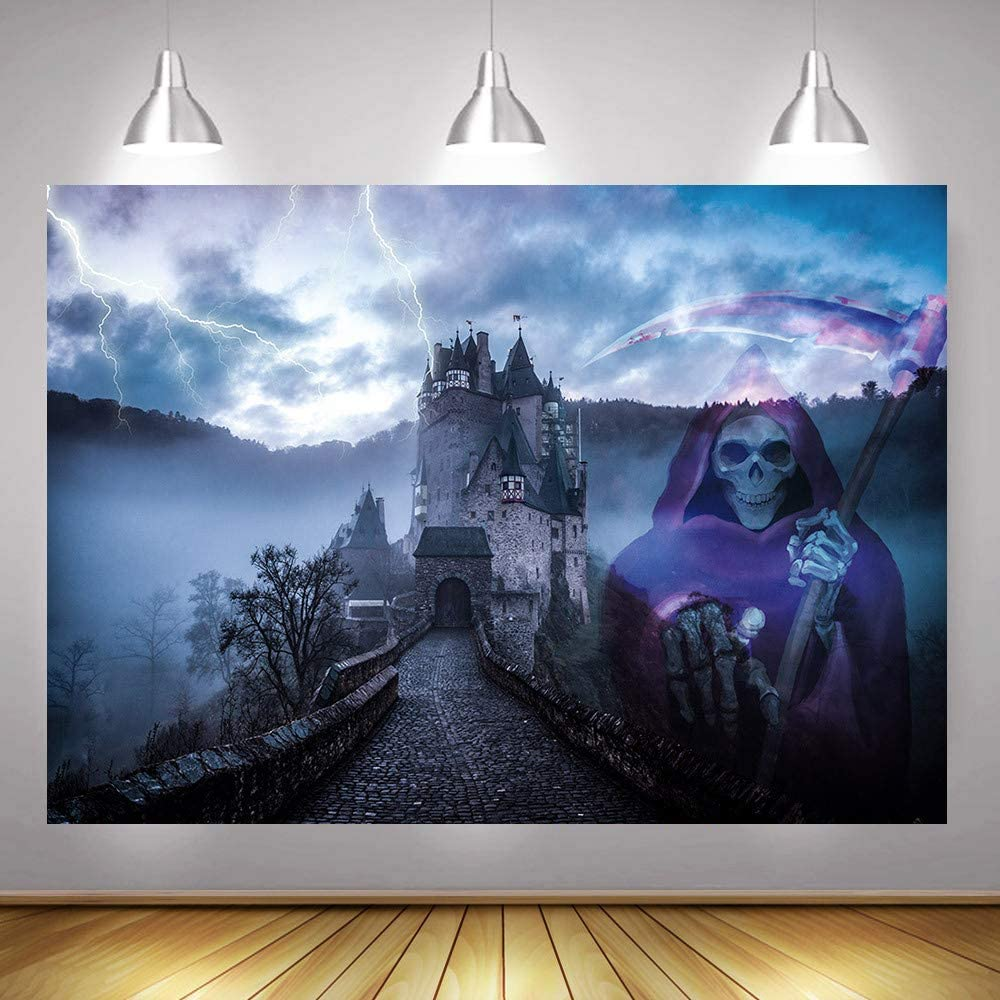 Dark Horror Nights Halloween Party Supplies Vinyl Jack Skeleton Photography Backdrop and Studio Props DIY Kit Hallowmas Dress-up Photo Booth Background Cosplay Fright Party Banner Decorations