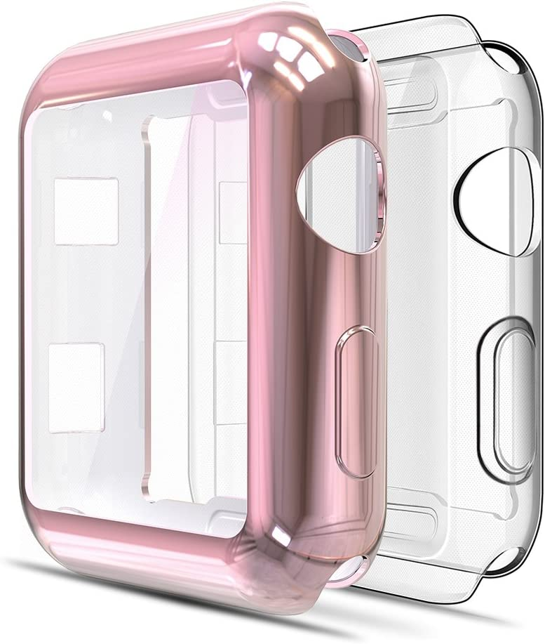 Simpeak Soft Screen Protector Bumper Case Compatible with Apple Watch 42mm Series 3 Series 2, Pack of 2, All Around, Clear + Plated Rose Gold