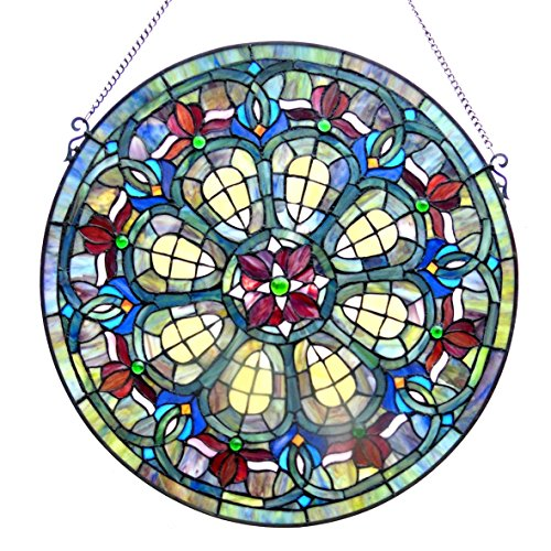 Panels Glass Stained Victorian (Chloe Tiffany Style Victorian Design Round Window Panel)