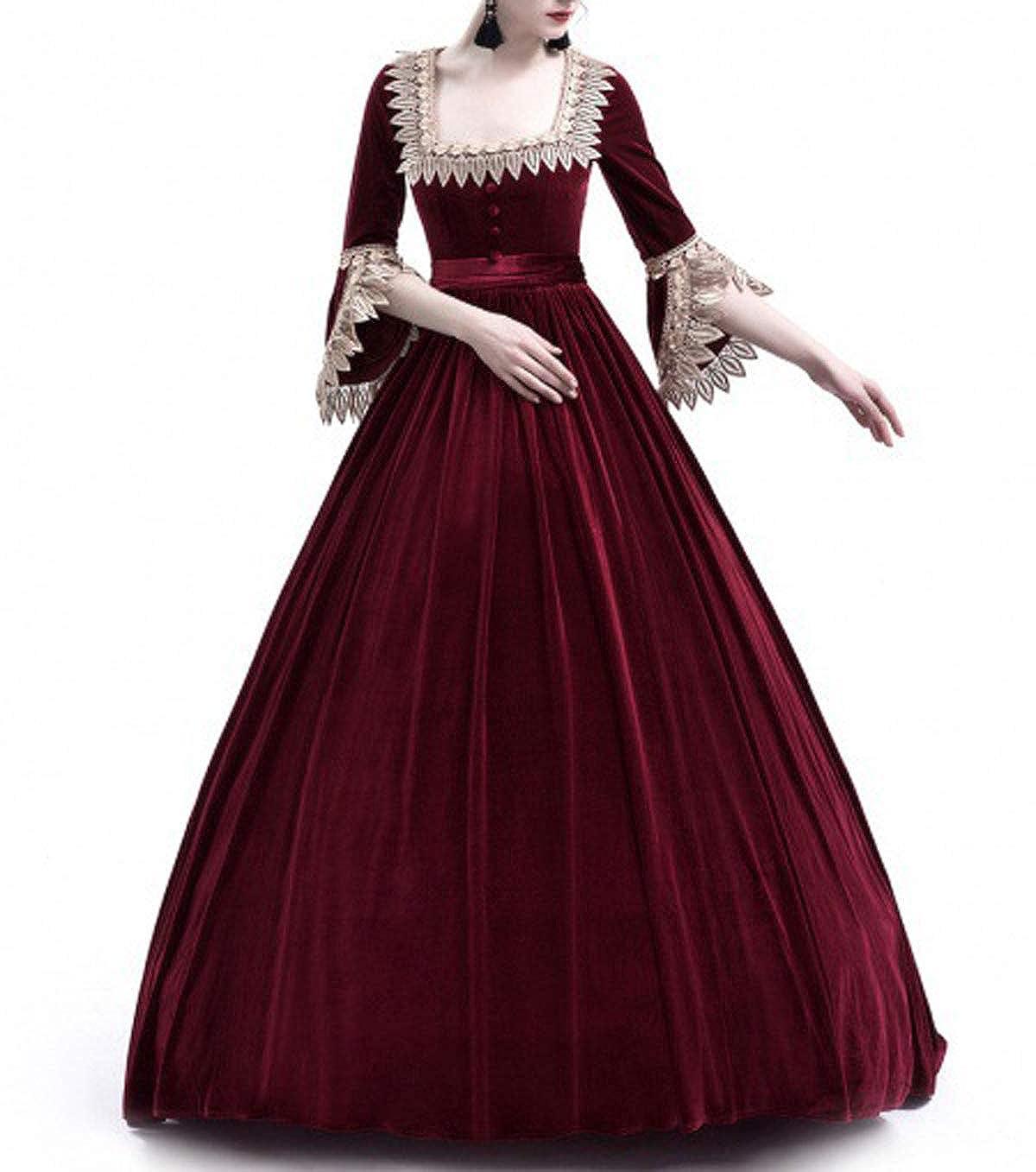 Primavera y Otoño Medieval Renacimiento Disfraz de Reina Elegante Vintage Cuello Cuadrado Cuerno Manga Vestido Mujer Moda Hermoso Encaje Costura Maxi ...