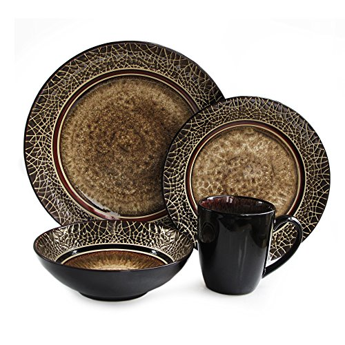 American Atelier 6203-16 Markham Square Casual Round Dinnerware Set - 16-Piece Stoneware Party Collection w/ 4 Dinner Salad Plates, 4 Bowls & 4 Mugs - Unique Gift Idea, 11x11x4, Brown