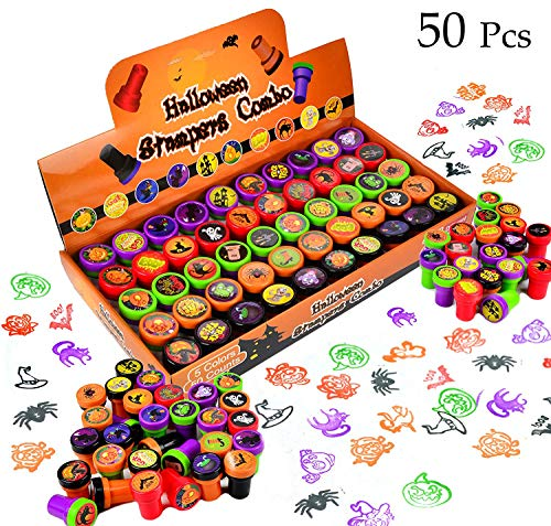 50 Pieces Halloween Assorted Stamps Kids Self-Ink Stamps
