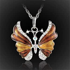 Brown Hazel color Butterfly necklace & silver plated background inlaid with crystal lobes