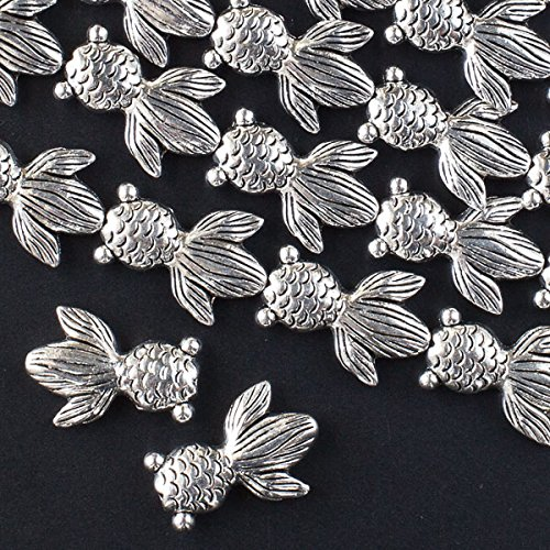 Cherry Blossom Beads Silver Pewter Celestial Eye Goldfish Beads 16x23mm - 8 Inch Strand