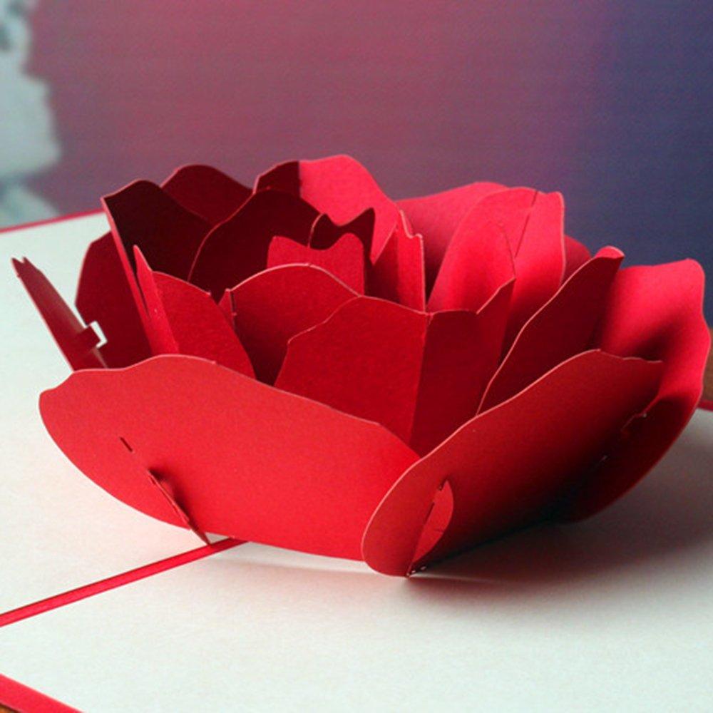 3D Rose Fleur Popup Carte Creux Bouquet Carte de voeux DIY pour la Saint-Valentin F/ête danniversaire Festivals Cadeaux