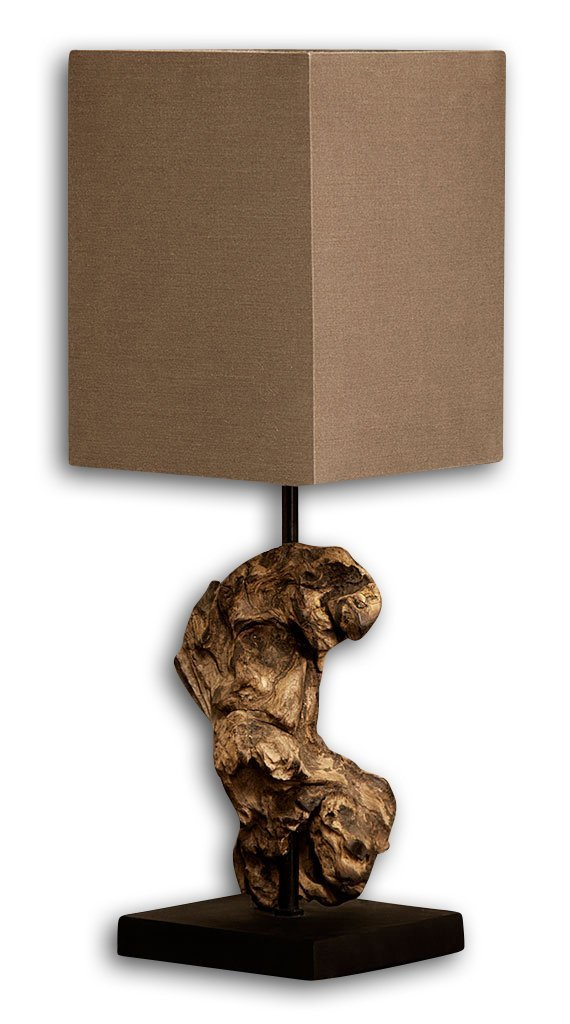 Levandeo Lampe Tischlampe Tischleuchte aus recyceltem Holz - Design Holzlampe Treibholz 15x15cm 45cm hoch - Jede Lampe Ein Unikat naturbelassenes Massivholz