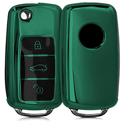kwmobile Car Key Cover Compatible with VW Skoda SEAT 3 Button Car Key - TPU Silicone Key Fob Cover with Varnished Buttons - Dark Green: Automotive [5Bkhe1011437]