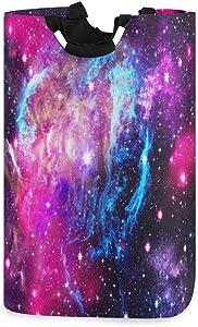 Universe Space Galaxy Star Laundry Hamper Basket Bucket Pink Blue Nebula Foldable Dirty Clothes Bag Toy Washing Bin Storage Organizer for College Dorms, Kids Bedroom,Bathroom