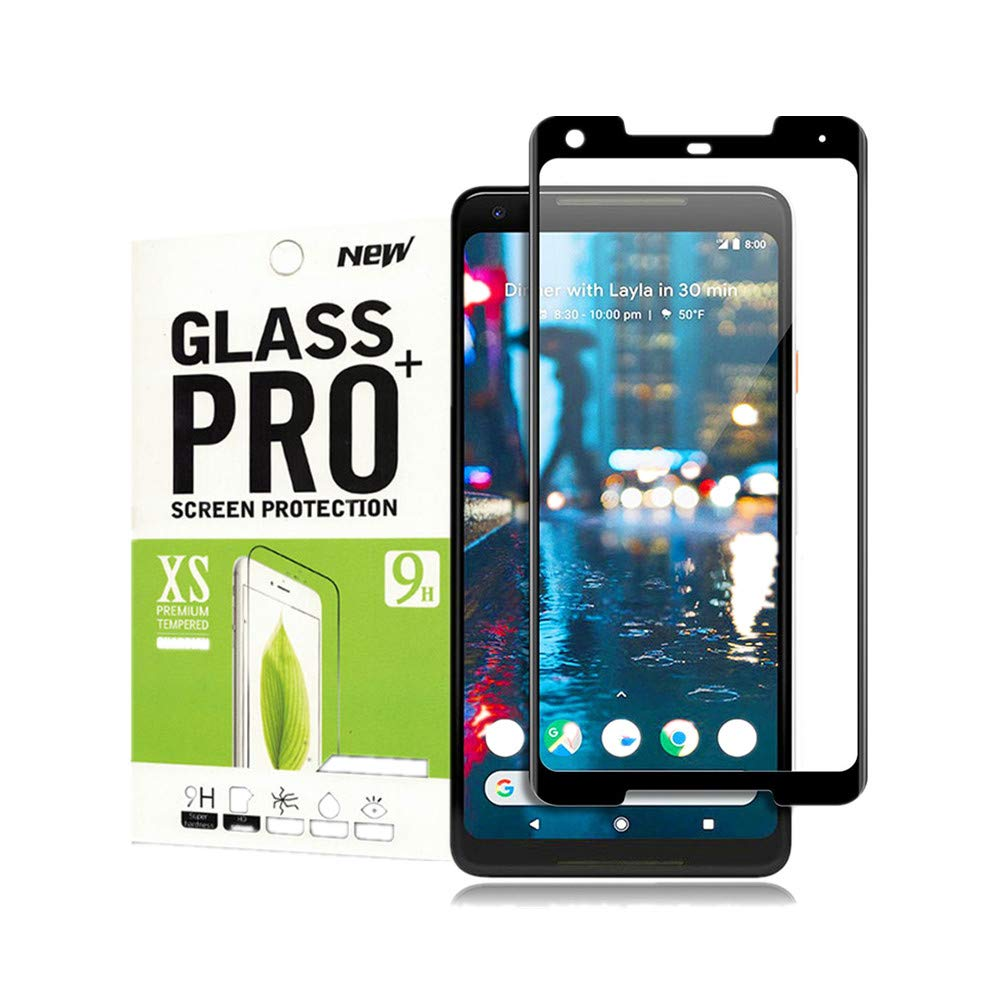 for Google Pixel 2 Tempered Glass Screen Protector, Slaiver[Full Coverage][Anti-Scratch][Bubble-Free][Ultra-Clear] Tempered Glass Screen Protector for Google Pixel 2(Black) Samfaces