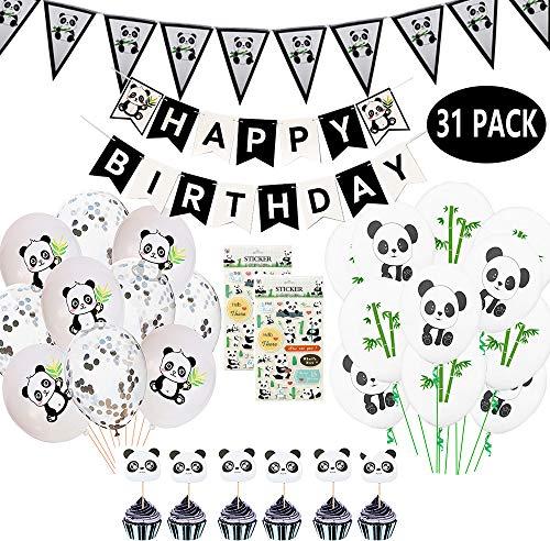 JumDaQ Panda Party Decoration Supplies Girls Birthday Banner Favor Pennant Banners Ribbon Balloons Stickers Panda Cupcake Toppers for Panda Bear Birthday Baby Shower Party Favor Decor 31 Packs]()