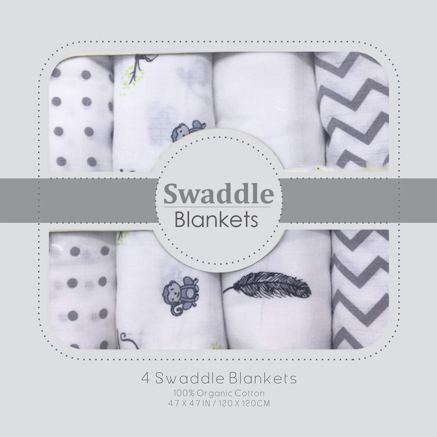 Muslin Swaddle Blankets – Soft Silky 100% Muslin Cotton Swaddle Blanket for Baby, Large 47 x 47 inches, Set of 4- Zig Zag, Polka, Wing & Monkey Print in Grey Pattern