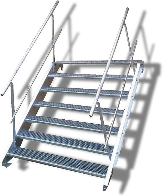 Escalera de acero de 7 peldaños con barandilla a ambos lados, altura de planta 100 – 140 cm (ancho de peldaños 140 cm).: Amazon.es: Bricolaje y herramientas