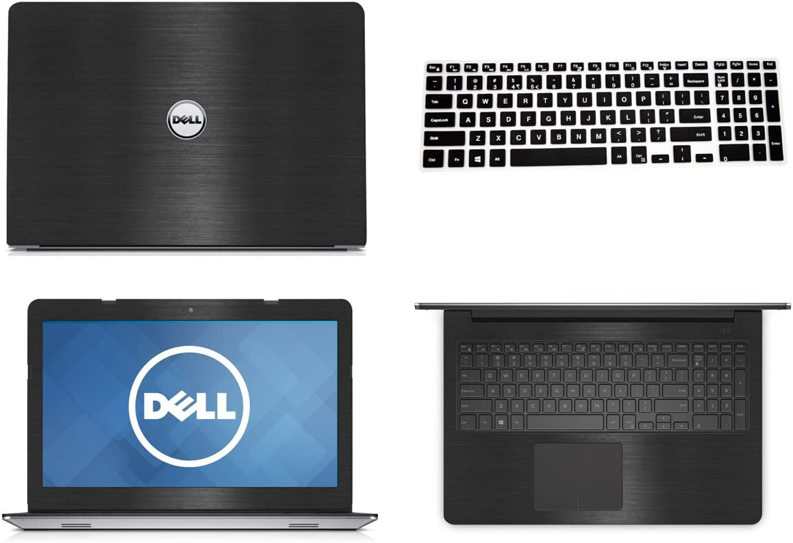 Black Brushed Aluminum skin decal wrap skin Case + Semi Black Keyboard Cover for Dell Inspiron 15 5558 5559 15.6