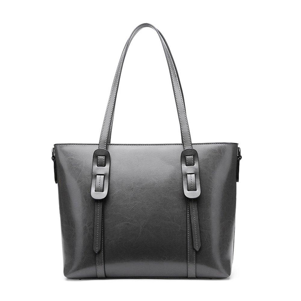 夏のハンドバッグレザーショルダーバッグは、女性のバッグショッピングバッグをスローエレガントなカジュアルスタイルのファッション バッグ (色 : グレー)  グレー B07MGRLN1R