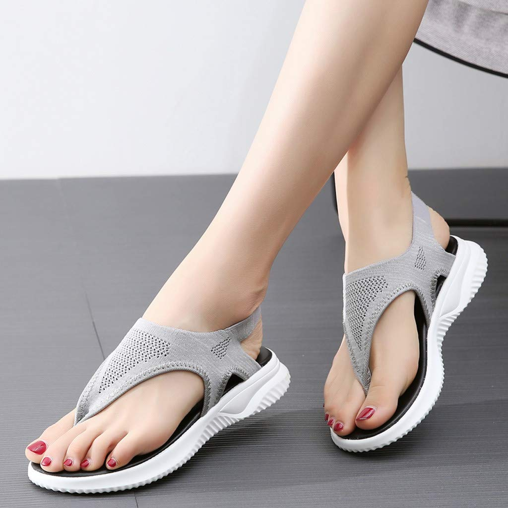 Women Thick Summer Flip Flop Shoes Clearance Sale, NDGDA Ladies Platform Roman Casual Flock Sandals by NDGDA Women Sandals (Image #4)