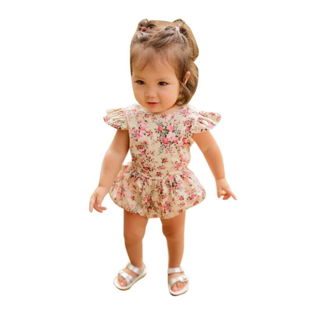 81a9ba91a4f0a Barboteuse de Bébé Fille - Eté Enfants Bébé Filles Floral Barboteuse  Combinaison Costume Vêtements pour Age 0-24M Ba Zha Hei  Amazon.fr   Vêtements et ...