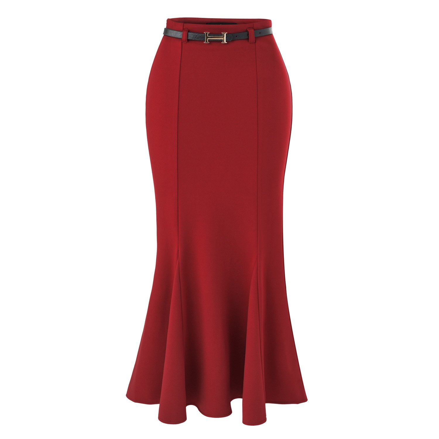 Retro Skirts: Vintage, Pencil, Circle, & Plus Sizes ISYITLTY Womens High Waist Fishtail Mermaid Bodycon Pencil Long Skirt With Belt $33.99 AT vintagedancer.com