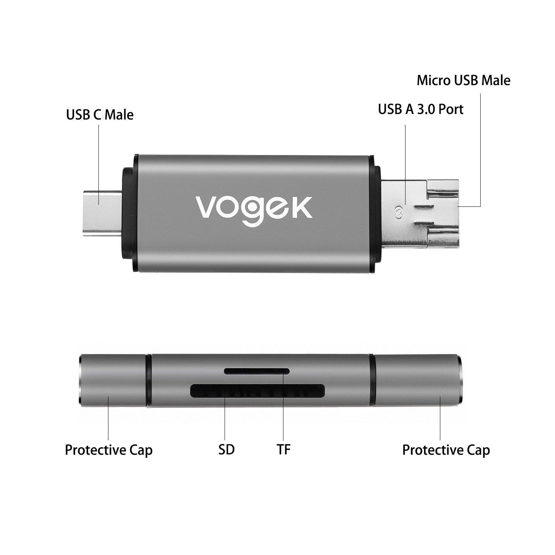 SD Card Reader, VOGEK 3-in-1 USB 3.0 / USB C/Micro USB Card Reader - SD, Micro SD, SDXC, SDHC, Micro SDHC, Micro SDXC Memory Card Reader for MacBook ...