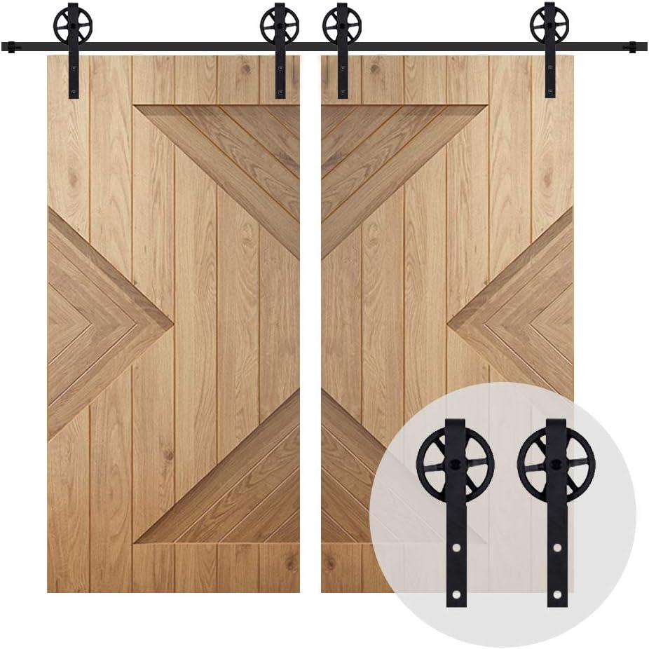 12.6FT//384cm Vintage Sliding Barn Wood Door Closet Hardware Track Kit Track System Big Wheel Rollers for Double Door