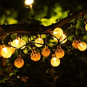 Solar String Lights, 19.7feet 40 LED Crystal Ball Fairy Lights with 8 Modes, Outdoor Waterproof Solar Powered Lights for Patio, Garden, Lawn, Path, Party and Home Decorations, Warm White