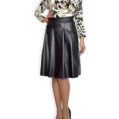 9801a32751c Souvenir Fashion Les Femmes Faux Cuir Taille Haute évasée Patineuse Jupe  Plissée Noir EU 36 38