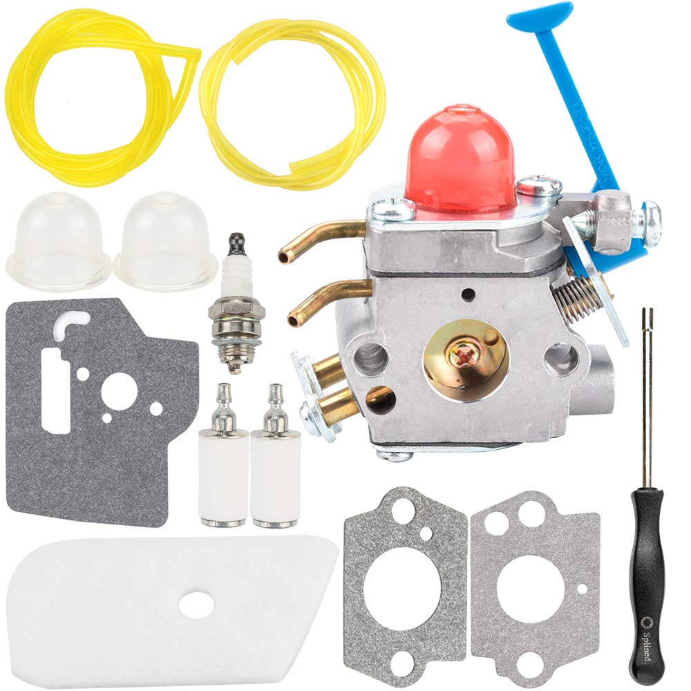 Carburetor Air Filter Tool Fuel Line Filter Carb Tune-up Parts Kit for Husqvarna Trimmer Weed Eater Wacker Edger 28cc 124L 125L 125LDX 128C 128L 128LD 128R 128RJ Poulan Replaces Zama C1Q-W40A W38 by Kuupo
