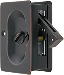 Premium Quality Mid-Century Pocket Door Privacy Lock Set In Oil-Rubbed Bronze