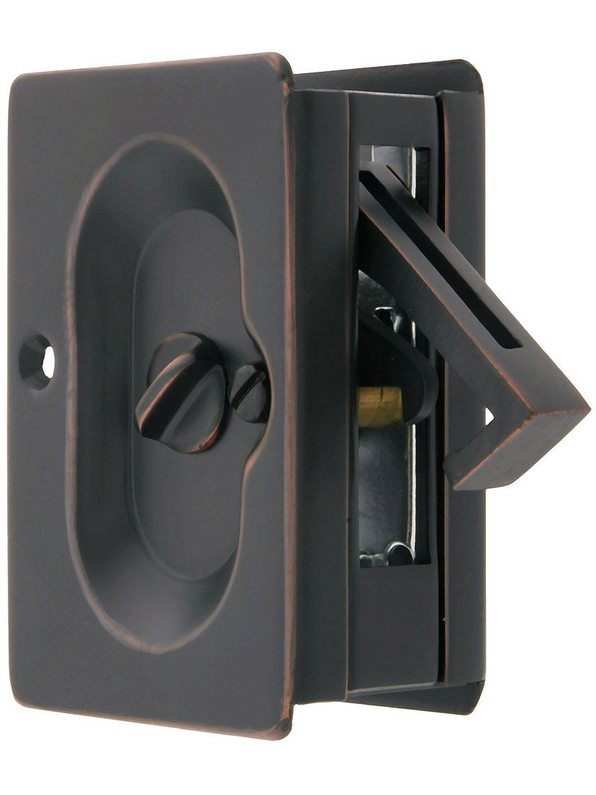 Premium Quality Mid-Century Pocket Door Privacy Lock Set in Oil-Rubbed Bronze by Emtek