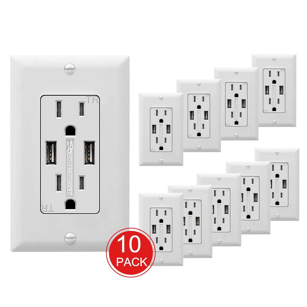 SZICT USB Outlet Receptacle, 10 Pack UL-listed 4.2A Ultra-fast USB Charging Receptacle 2 USB Ports Receptacle Charger, 15A TR Wall Receptacle Outlet with Wall Plate, White by SZICT (Image #1)