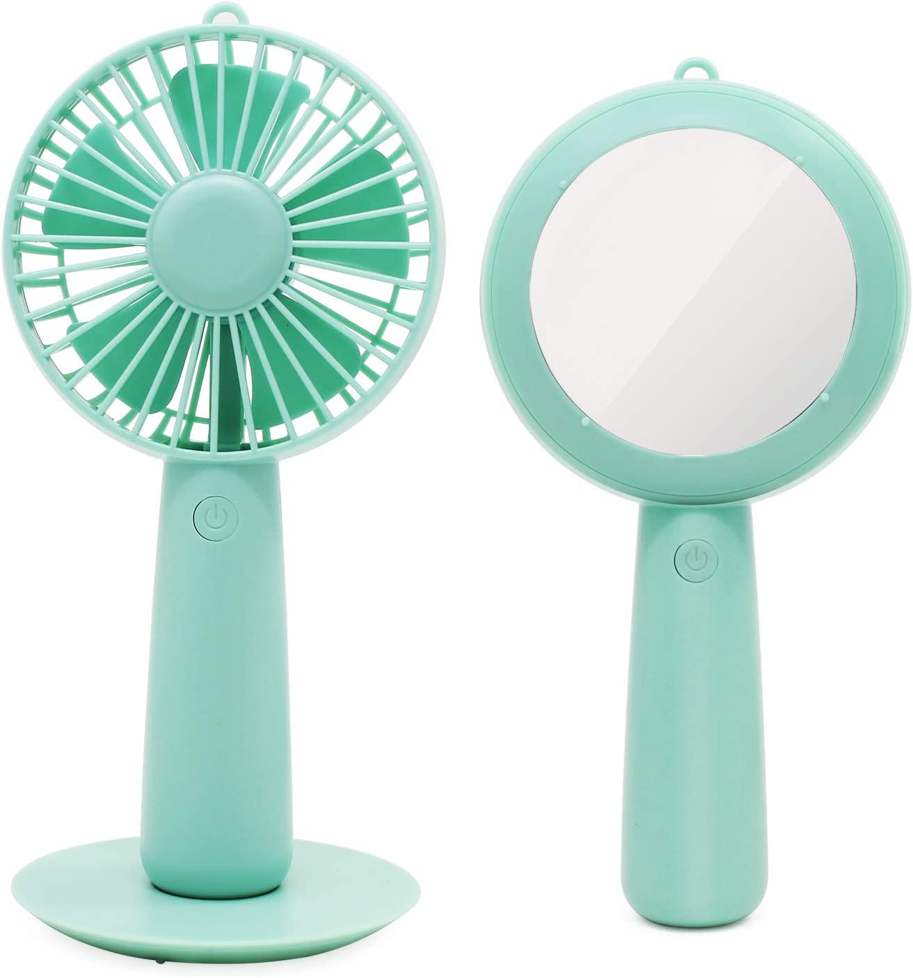ESUMIC Handheld Portable Mirror USB Rechargeable Desk Cooling Fan Air Contioner Office Table Cooling Fan for Home Office Traveling Camping Green
