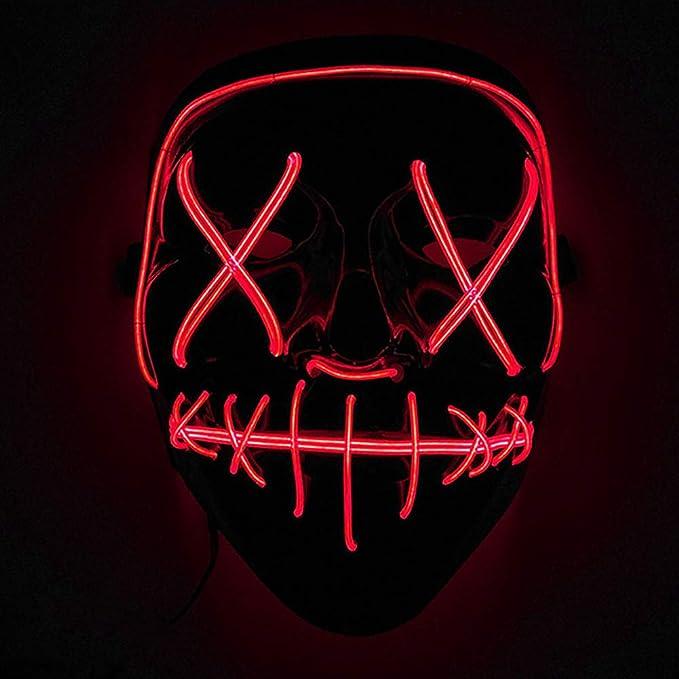 Máscaras led luminosa para disfraz de color rojo
