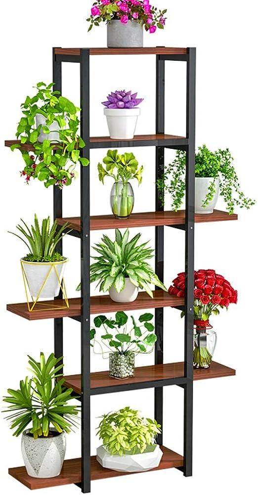 Estanteria Para Plantas Maciza Soporte Alto Puesto De Flores Con 6 ...