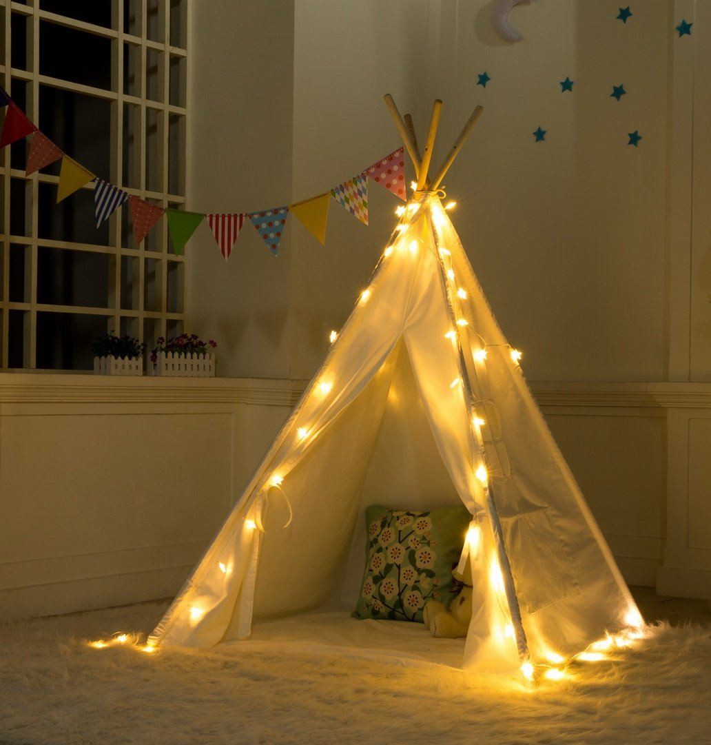 DalosDream Indoor Outdoor Classic White Cotton Canvas Play Teepee Tent for Toddler Kids with Mat Floor and Carry bag by DalosDream (Image #2)