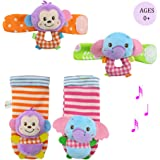 Daisy Infant Baby Soft Plush 4 Animal Wrists Rattle and Foot Finder Socks Set Best Gift Early Educational Development Toy for Boys and Girls - Elephant and Monkey