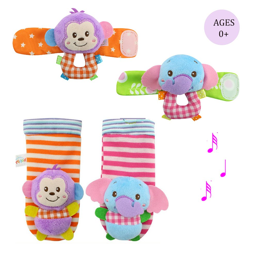 Daisy Infant Baby Soft Plush 4 Animal Wrists Rattle and Foot Finder Socks Set Best Gift Early Educational Development Toy for Boys and Girls - Elephant and Monkey Daisy's Dream