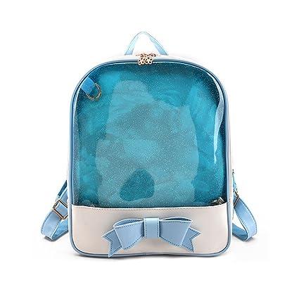 Espeedy mujeres verano durce caramelo Color PVC Transparente Mochila Bowknot Zipper Bag Niñas Escuela Mochilas