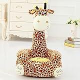 """Kids Mini Lounger Sofa,Bean Bag Chair,Novelty Gift Giraffe PP Cotton Cute Cartoon Washable 21""""x17"""" Brown(A)"""