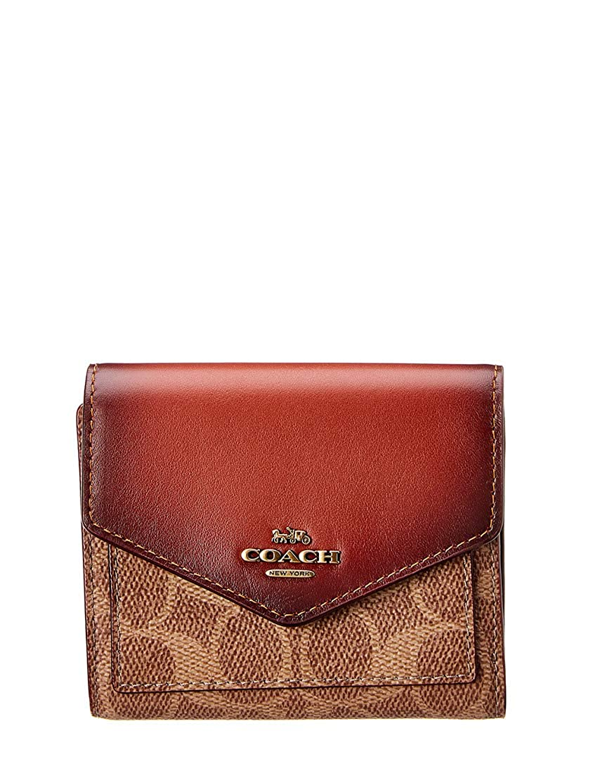 Amazon.com: COACH Womens Small Wallet in Color Block Coated Canvas Signature B4/Tan Chalk One Size: Shoes