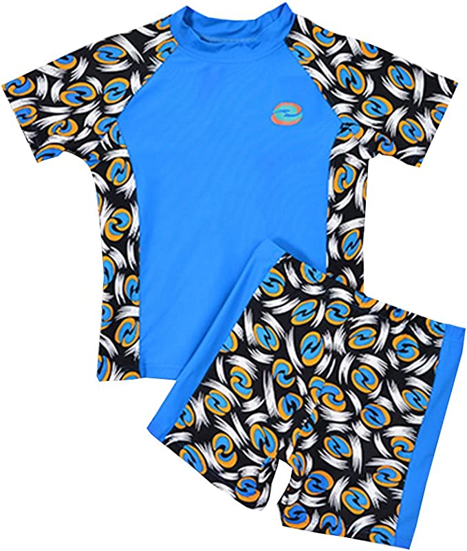 Boys Size 2 Blue//yellow Sun Uv Protective Rashguard Swim Shirt /& Shorts Kids Age 2