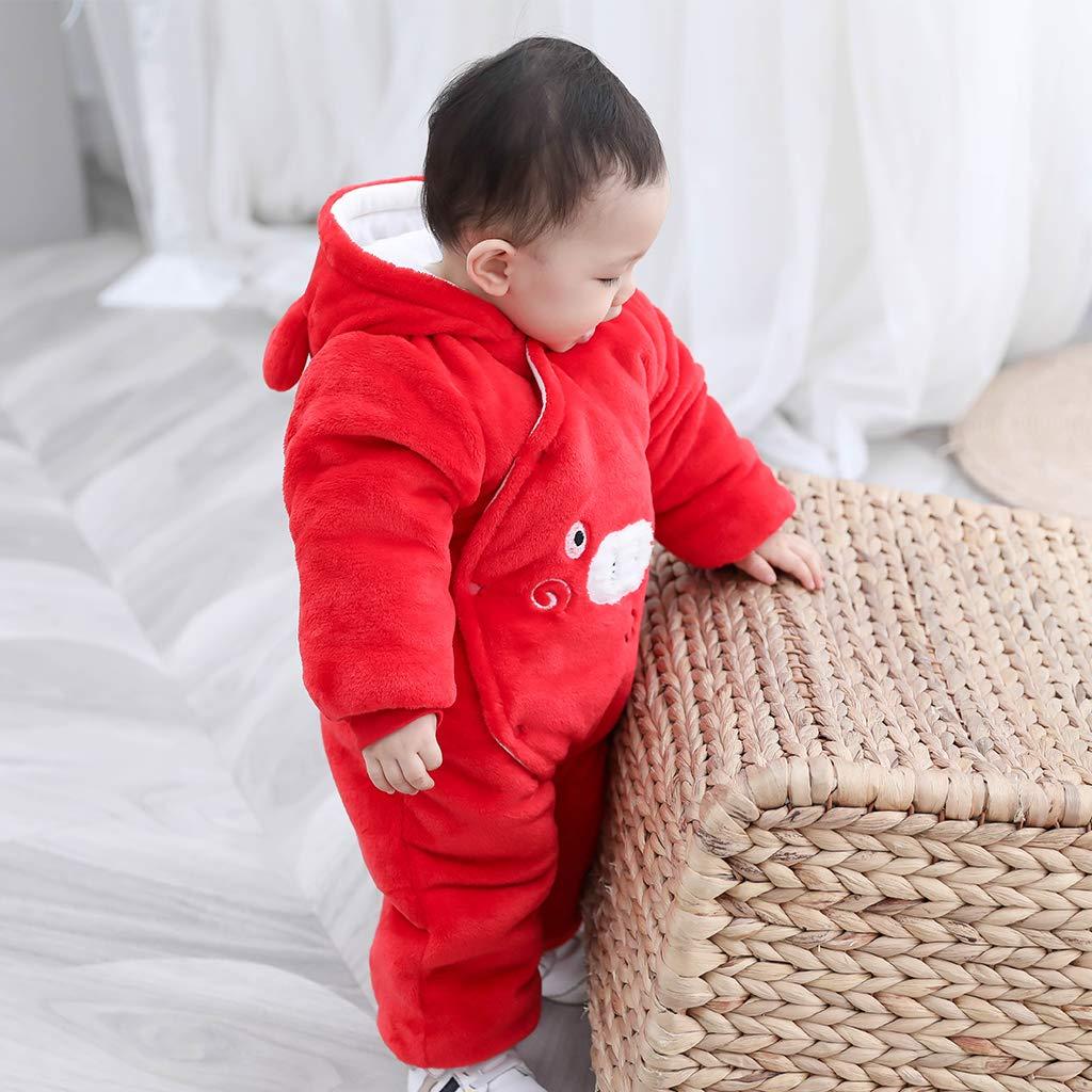 Baby Strampler mit Kapuze Jungen M/ädchen Overall Winter Tier Verdicken Outwear Blau 0-3 Monate