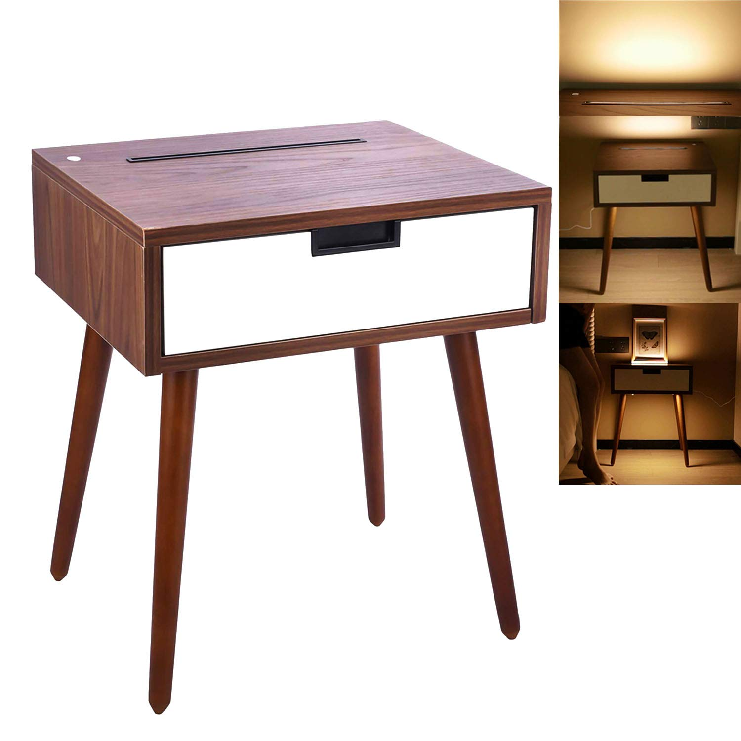 Frylr Nightstand End Table with Drawer