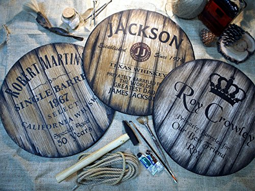 by whiskey barrel tops | Personalized Gifts for men | Rustic wall decor | Hand-painted theme on a worn out, distressed wood plaque | Home Bar, Man Cave decoration (Antique Barrel Bar)