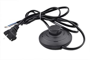 Foot Pedal Push Switch Inline Lamp Light On-off Control Footswitch with Wire Plug (Black)