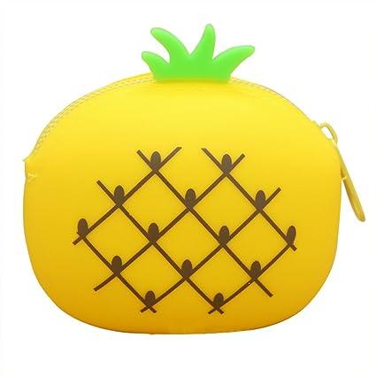 Dosige 1PCS Mujer Mini Cartera,Monedero con Cremallera, Bolso de Llave,Forma de fruta linda de Billetera,Material de Silicona size 9.5x7.5x4.5cm (Piña ...