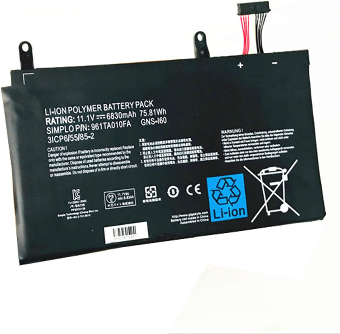 Dentsing 11.1V 75.81Wh/6830mAh 4-Cell GNS-I60 Laptop Battery Compatible with GIGABYTEP35K P35K-965-4702S P37X P57X V6 Gateway 961TA010FA Series Notebook GNS-160