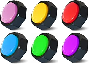 Set of 6 Colors, Recordable Button, Dog Buttons,Dog Training Buttons,Talking Button, Record & Playback Any 30 Seconds Your Own Message (Battery Included)