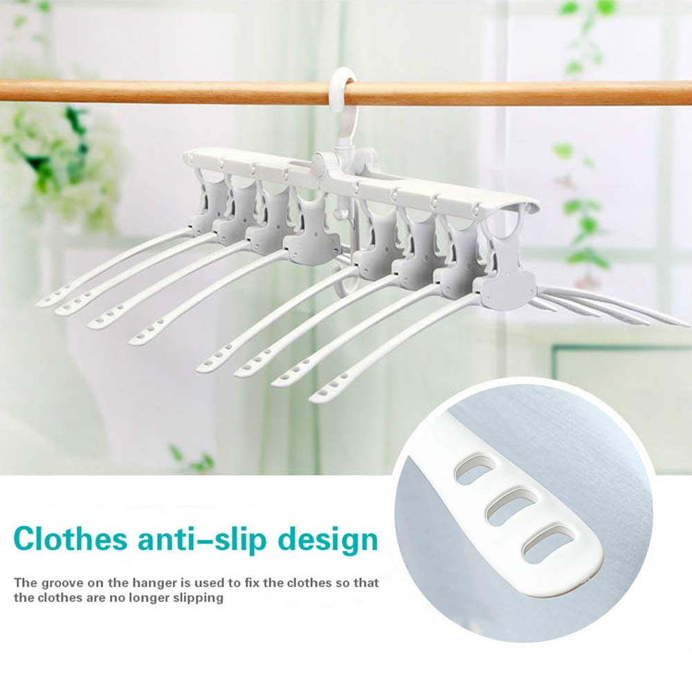 Foldable Multi-Function Retractable Hangers Drying Racks YASSUN 8-in-1 Hanger Travel Hangers Non-Slip Hangers Rotating Plastic Hangers White