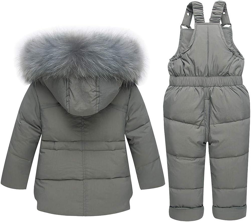 CADong Little Kids Baby Girls Boys Two Piece Snowsuits,Winter Warm Zipper Fur Trim Hooded Snowsuit Puffer Down Jacket Snow Ski Bib Pants Outfits Outwear