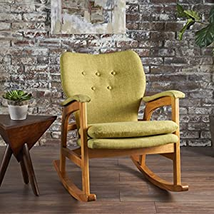 bethany mid century fabric rocking chair muted green