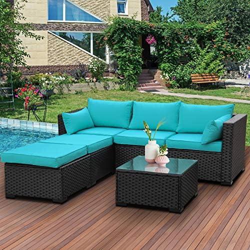 Outdoor Sectional Sofa Set 4-Piece Patio PE Black Wicker Rattan Conversation Furniture